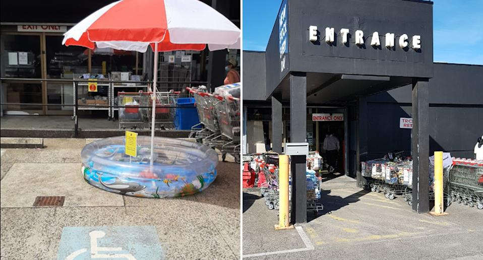 The Famous Arthur Daley's put a pool and umbrella for sale in a disability parking bay