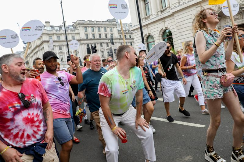 LONDON, ENGLAND - JULY 06: Sam Smith during Pride in London 2019 on July 06, 2019 in London, England. (Photo by Tristan Fewings/Getty Images for Pride in London)