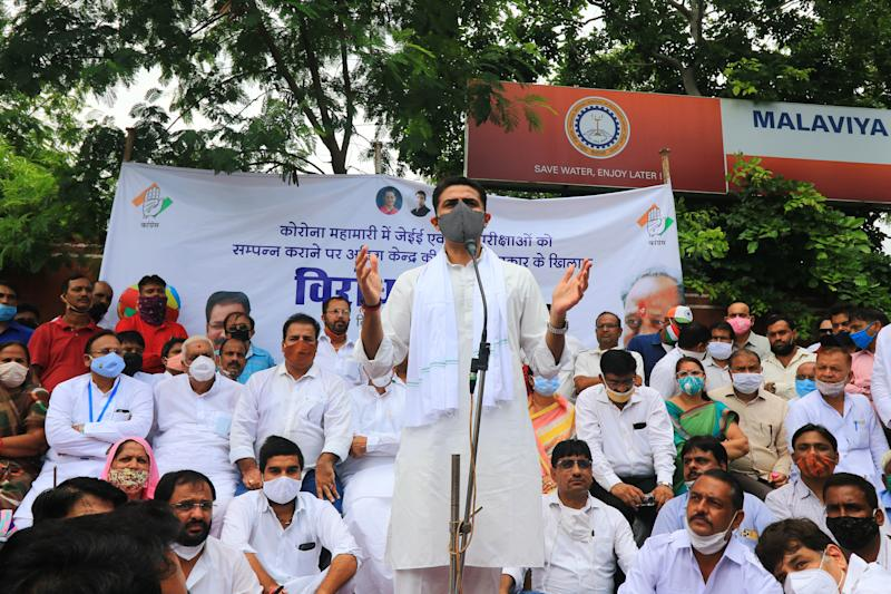 Congress leader Sachin Pilot addresses a protest demonstration against holding of the NEET and JEE examinations amid coronavirus pandemic, in Jaipur, Rajasthan, India, on August 28, 2020. (Photo by Vishal Bhatnagar/NurPhoto via Getty Images)