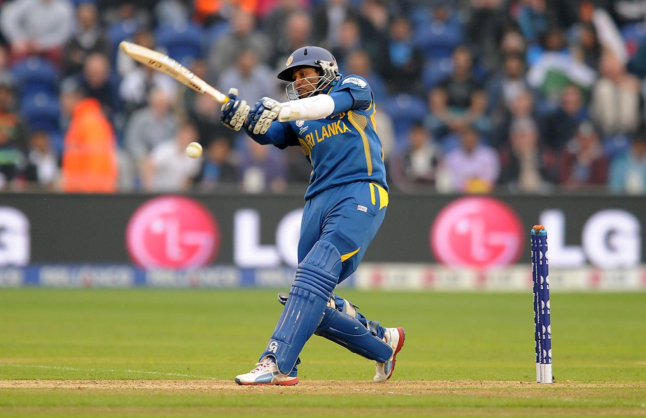 Sri Lanka's Tillakaratne Dilshan bats after returning to the field of play after previously going off injured during the ICC Champions Trophy, Semi Final at the SWALEC Stadium, Cardiff.