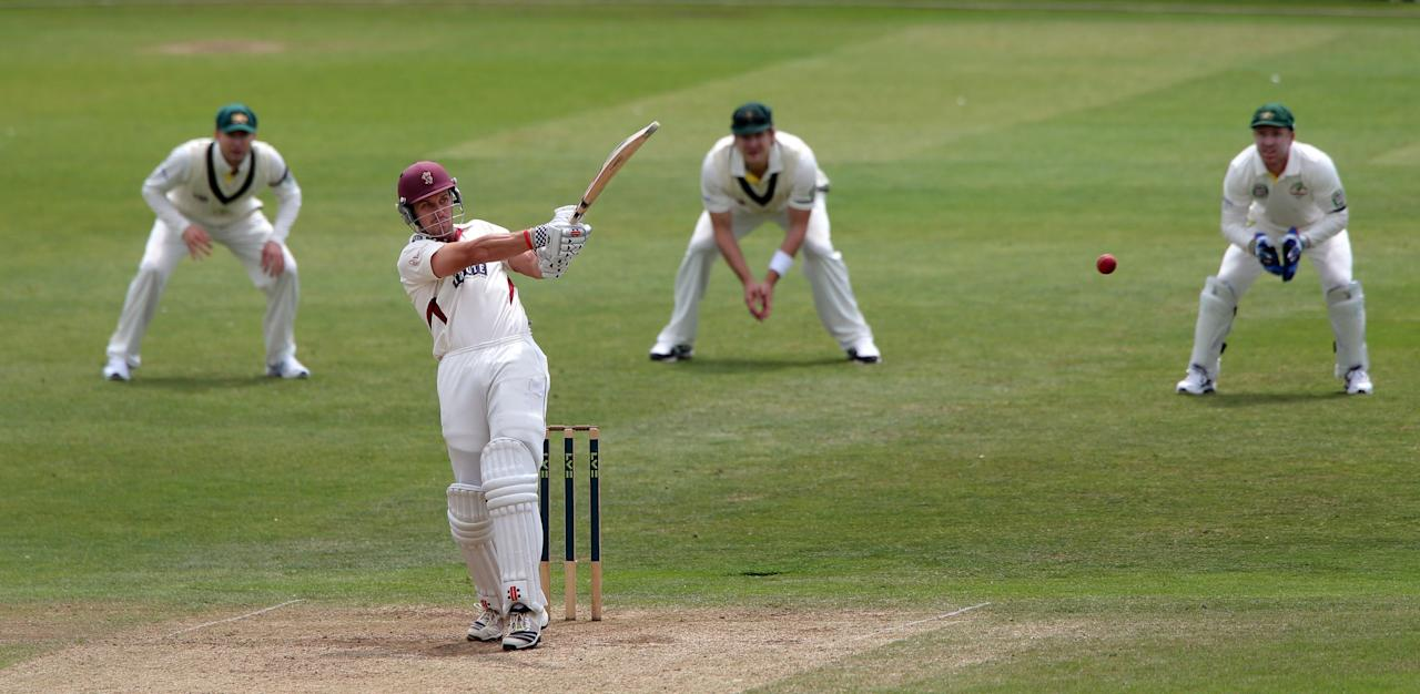 Somerset batsman Nick Compton scores 4 runs during the International Tour match at the County Ground, Taunton.