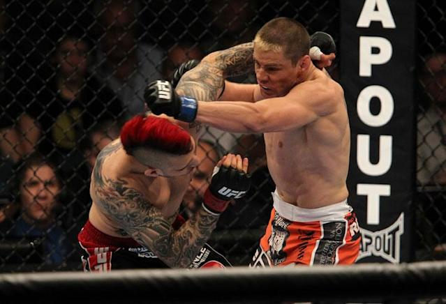 LAS VEGAS, NV - MAY 26: (L-R) Dan Hardy and Duane Ludwig exchange punches during a welterweight bout at UFC 146 at MGM Grand Garden Arena on May 26, 2012 in Las Vegas, Nevada.