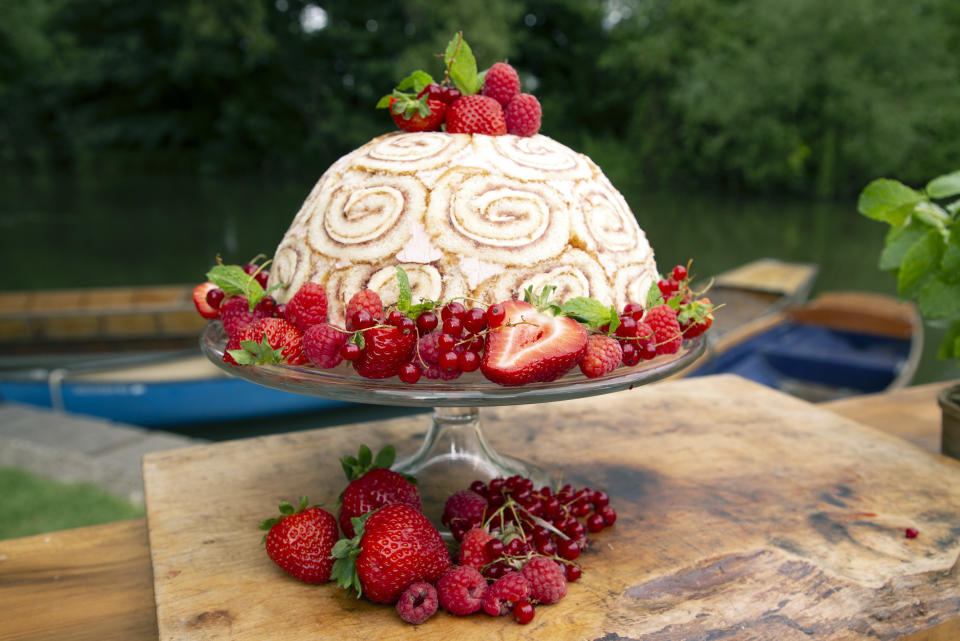 James Martin picks some raspberries and he uses them to cook a Charlotte Royale.