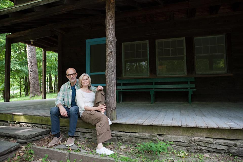 Mature couple at cabin