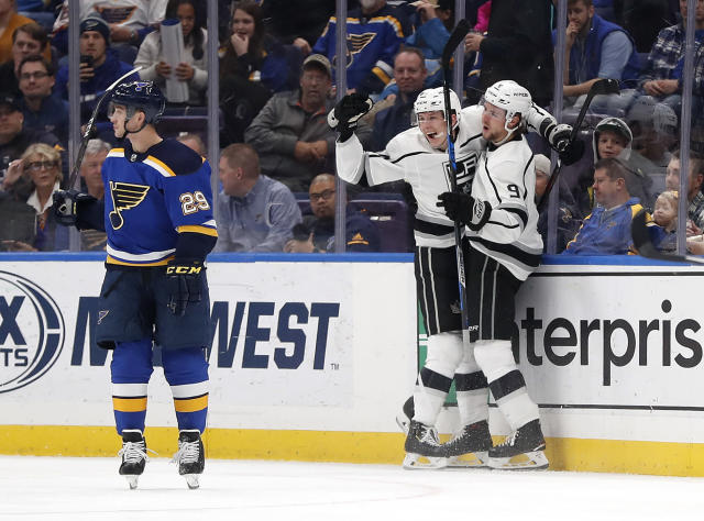 Los Angeles Kings' Matt Luff, center, is congratulated by teammate Adrian Kempe (9) after scoring as St. Louis Blues' Vince Dunn, left, skates away during the second period of an NHL hockey game Monday, Nov. 19, 2018, in St. Louis. (AP Photo/Jeff Roberson)