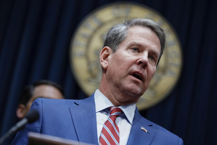 FILE - In this Dec. 4, 2019, file photo, Georgia Gov. Brian Kemp takes questions from the media at the Georgia state Capitol in Atlanta. A federal appeals court plans to hear arguments Friday, Sept. 24, 2021 on whether it should overturn a lower court's ruling that permanently blocks a restrictive abortion law passed in 2019 by Georgia lawmakers. (AP Photo/Elijah Nouvelage, File)