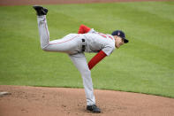 Boston Red Sox starting pitcher Nick Pivetta follows through on a pitch during the first inning of a baseball game against the Baltimore Orioles, Sunday, May 9, 2021, in Baltimore. (AP Photo/Nick Wass)