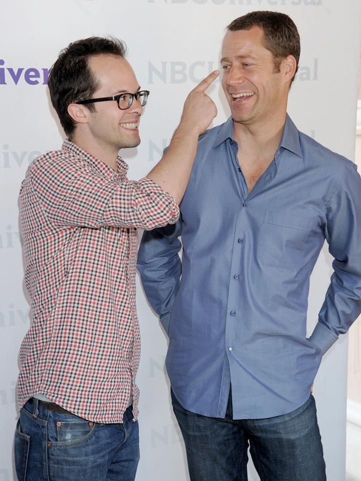 """Neil Grayston and Colin Ferguson (""""<a href=""""http://tv.yahoo.com/eureka/show/36894"""">Eureka</a>"""") arrive at NBC Universal's 2012 Summer Press Day at The Langham  Huntington Hotel and Spa on April 18, 2012 in Pasadena, California."""