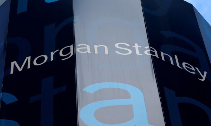FILE PHOTO - Corporate logo of financial firm Morgan Stanley in New York, New York