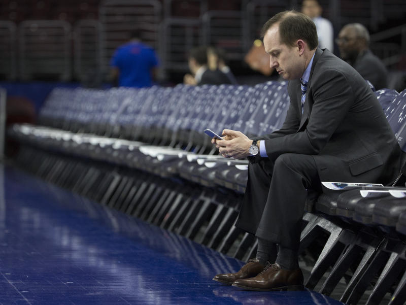 Former NBA general manager Sam Hinkie switched fields of play on Thursday, visiting the NFL's Denver Broncos so they could pick his brain. (Getty)