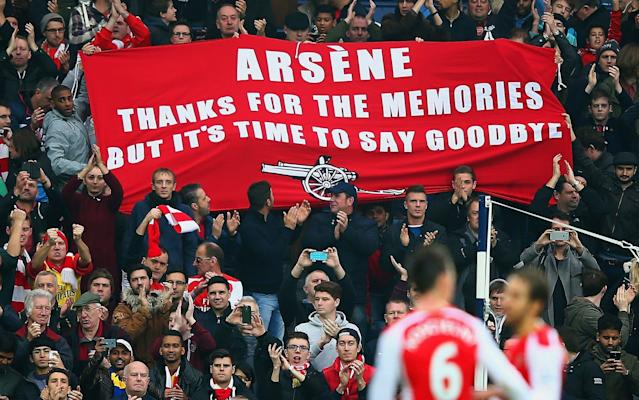 <span>Arsenal fans call for Arsene Wenger to leave the club</span> <span>Credit: Reuters </span>
