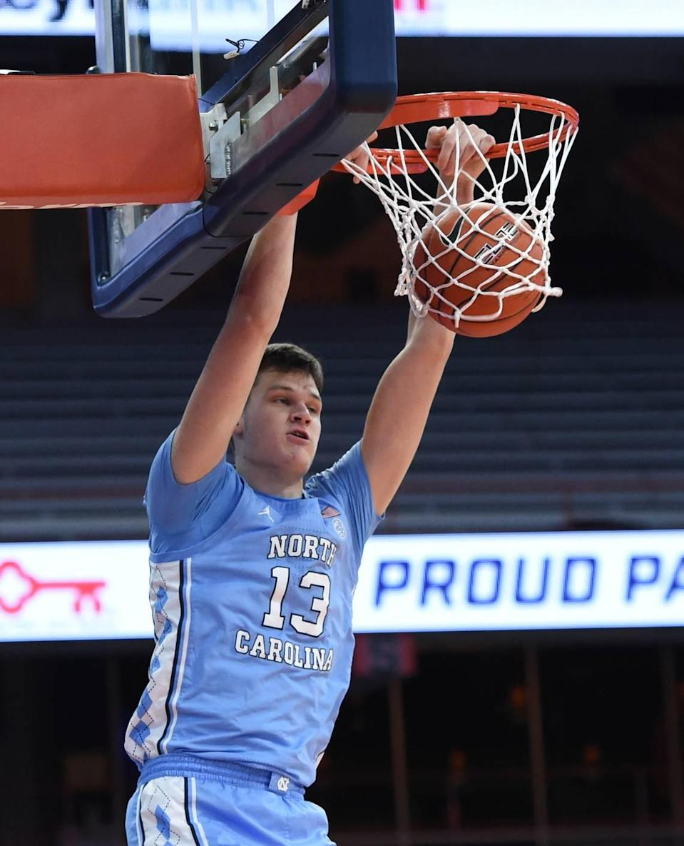 North Carolina Tar Heels forward Walker Kessler (13) with first half dunk in a game between Syracuse and North Carolina at the Carrier Dome in Syracuse N.Y. March 1, 2021. Dennis Nett | dnett@syracuse.com