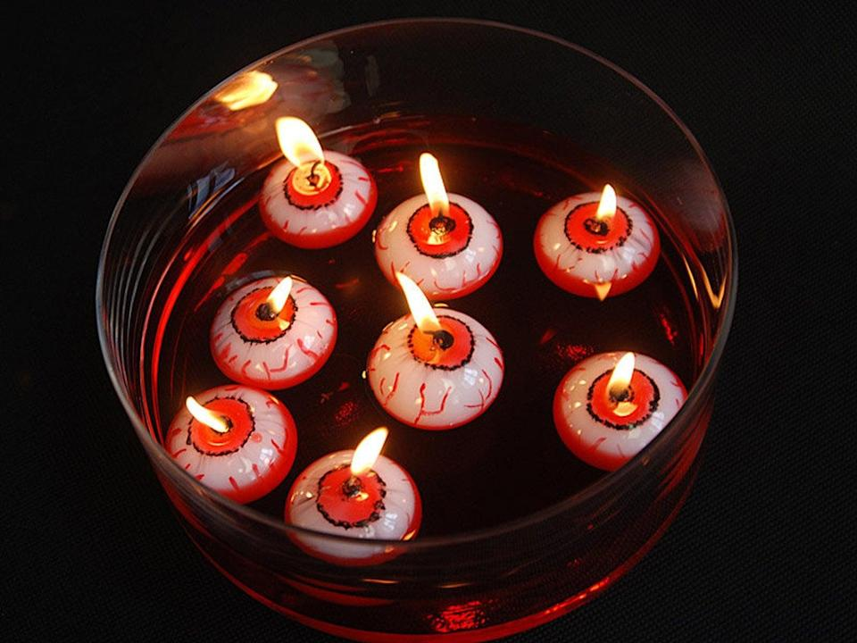 """<p>Talk about a frightening party trick. These <span>Floating Eyeball Halloween Candles</span> ($2, originally $3) are just the spooky addition your <a class=""""link rapid-noclick-resp"""" href=""""https://www.popsugar.com/Halloween"""" rel=""""nofollow noopener"""" target=""""_blank"""" data-ylk=""""slk:Halloween"""">Halloween</a> party needs! Each purchase comes with three eyeball candles, guaranteed to scare your friends' socks off. </p>"""
