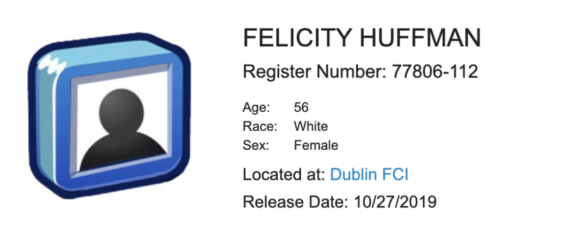 Felicity Huffman — federal prison inmate 77806-112 — was expected to be released on Oct. 27. (Screenshot: Federal Bureau of Prisons)