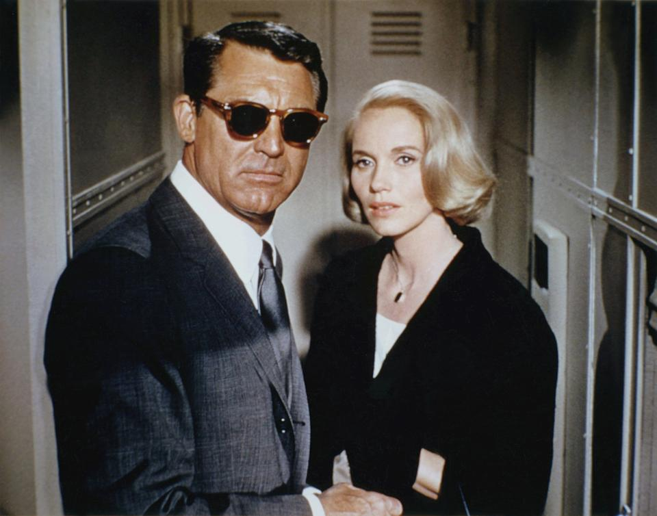 American actors Cary Grant and Eva Marie Saint on the set of North by Northwest, directed by Alfred Hitchcock. (Photo by Sunset Boulevard/Corbis via Getty Images)