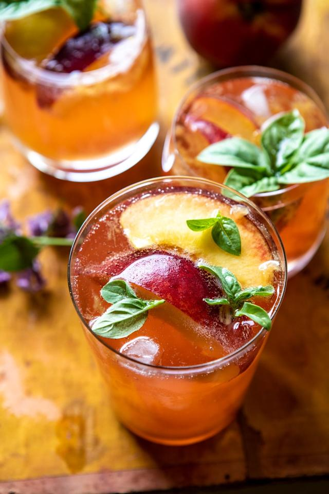 """<p>Summer is the perfect time to take advantage of the season's freshest, juiciest peaches. Combining the flavors of peach jam, tart white balsamic, Prosecco, and a touch of basil, <a href=""""http://www.halfbakedharvest.com/balsamic-peach-spritz/"""" target=""""_blank"""" class=""""ga-track"""" data-ga-category=""""Related"""" data-ga-label=""""http://www.halfbakedharvest.com/balsamic-peach-spritz/"""" data-ga-action=""""In-Line Links"""">this recipe</a> is a playful twist on the spritz cocktail that will keep your palate refreshed during the warmer months.</p>"""
