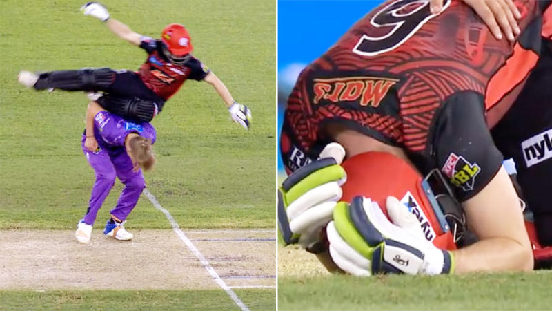Sam Harper, pictured here after the frightening collision in the Big Bash.