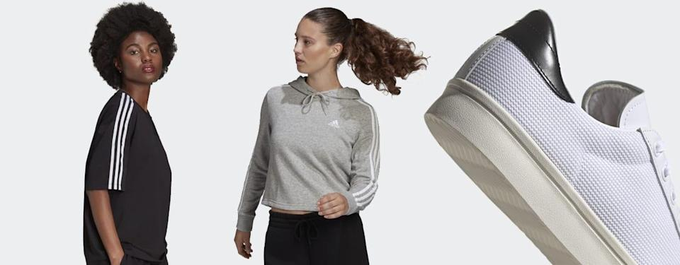 two women wearing adidas clothes and close up preparing off season shoes