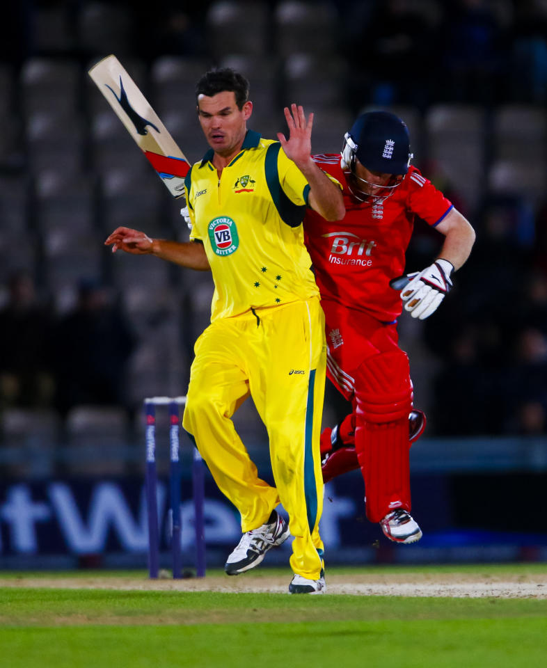 Australia's Clin McKay (left) collides with the running Eoin Morgan during the Fifth One Day International at the Ageas Bowl, Southampton.
