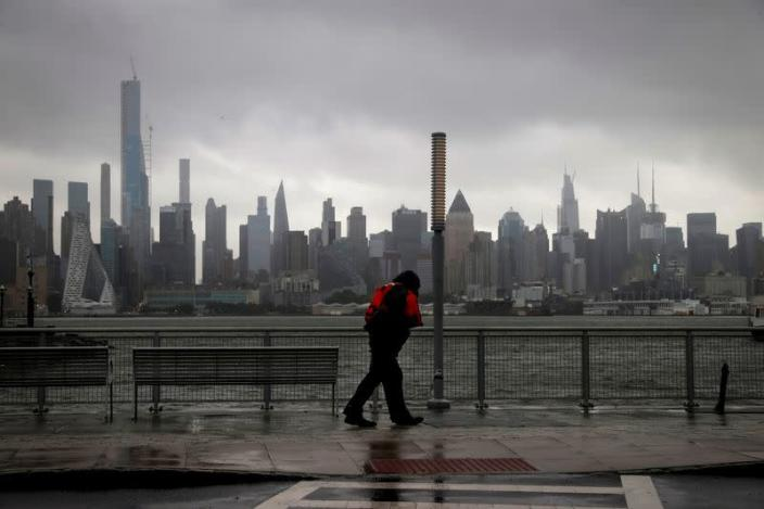 Tropical Storm Isaias impacts the New York City area in Weehawken, New Jersey