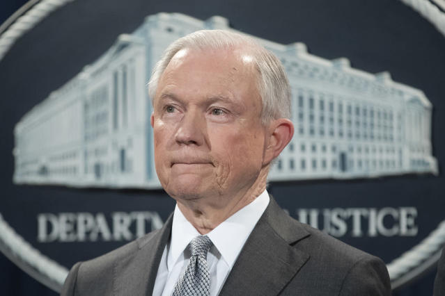 <p>U.S. Attorney General Jeff Sessions attends an event where he received an award from the Sergeants Benevolent Association of New York City, at the Justice Department in Washington, DC, May 12, 2017. Sessions spoke at the event discussing his decision to instruct prosecutors to pursue stricter punishments for drug trade crimes, reversing policy under former Attorney General Eric Holder. (Photo: Michael Reynolds/EPA) </p>