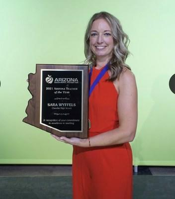 Sara Wyffels, a Spanish teacher at Chandler High School in the Chandler Unified School District is the Arizona Educational Foundation's 2021 Arizona Teacher of the Year.