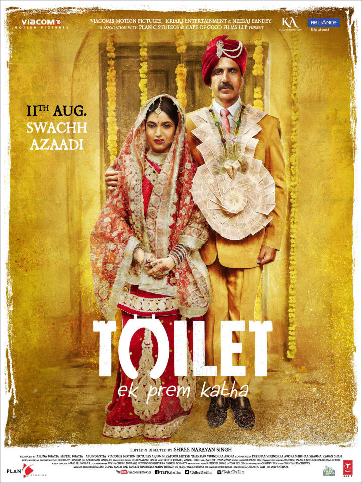<p>This movie brings forth the issue of sanitation in rural and urban India. The plot of the movie revolves around Bhumi Pednekar and Akshay Kumar, as she threatens to leave him, after one day of marriage, unless he installs a toilet in their home. To win back her love and respect, he heads out on a journey to fight against the backward society. </p>