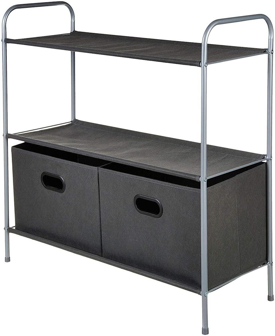 """<p>Rather than leaving your floorspace bare, invest in the lightweight <a href=""""https://www.popsugar.com/buy/AmazonBasics%20Closet%20Storage%20Organizer-465751?p_name=AmazonBasics%20Closet%20Storage%20Organizer&retailer=amazon.com&price=21&evar1=casa%3Auk&evar9=46355519&evar98=https%3A%2F%2Fwww.popsugar.com%2Fhome%2Fphoto-gallery%2F46355519%2Fimage%2F46355537%2FAmazonBasics-Closet-Storage-Organizer&list1=college%2Corganization%2Cclosets%2Csmall%20spaces%2Ccloset%20organization%2Csmall%20space%20living%2Cdorms&prop13=api&pdata=1"""" rel=""""nofollow noopener"""" target=""""_blank"""" data-ylk=""""slk:AmazonBasics Closet Storage Organizer"""" class=""""link rapid-noclick-resp"""">AmazonBasics Closet Storage Organizer</a> ($21) to give yourself three shelves and two drawers full of storage space.</p>"""