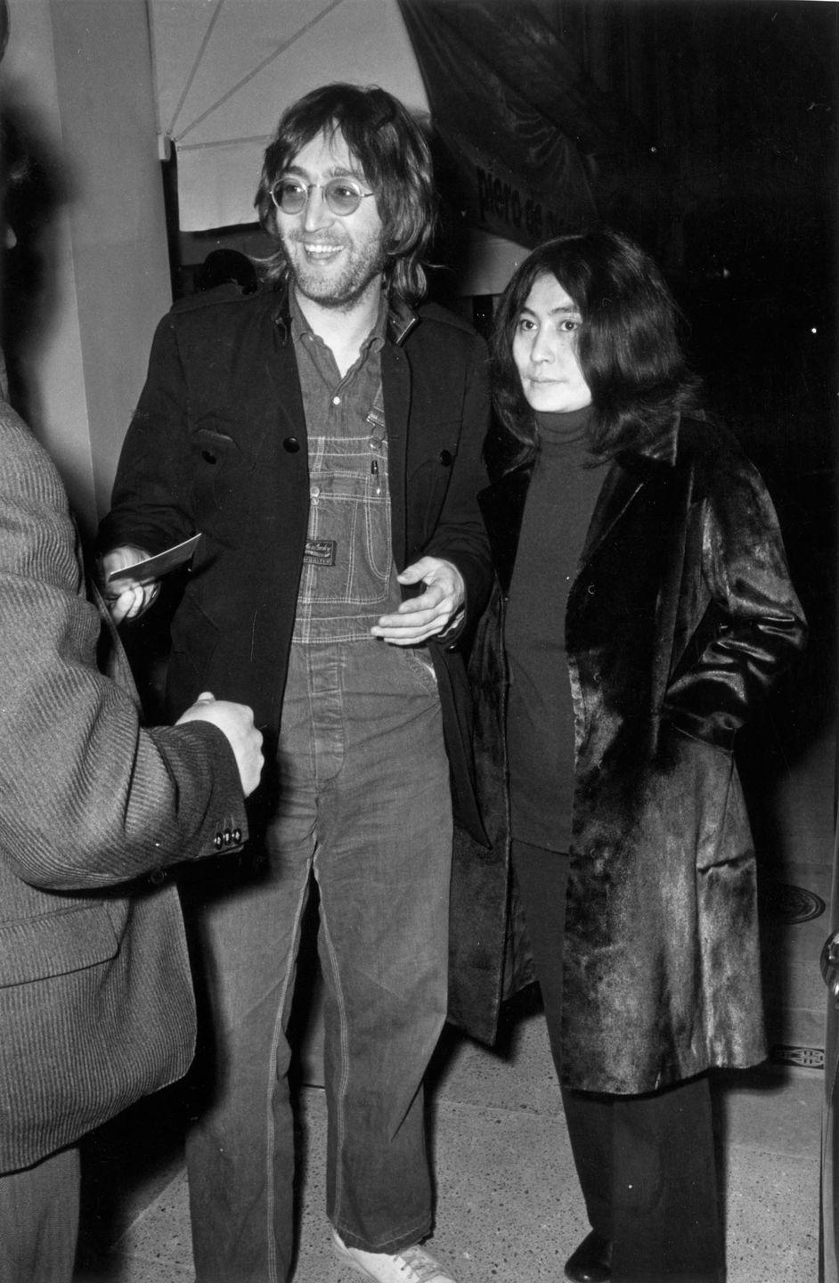 <p>John Lennon with his wife Yoko Ono at the E.M. Gallery party in London in 1971.</p>
