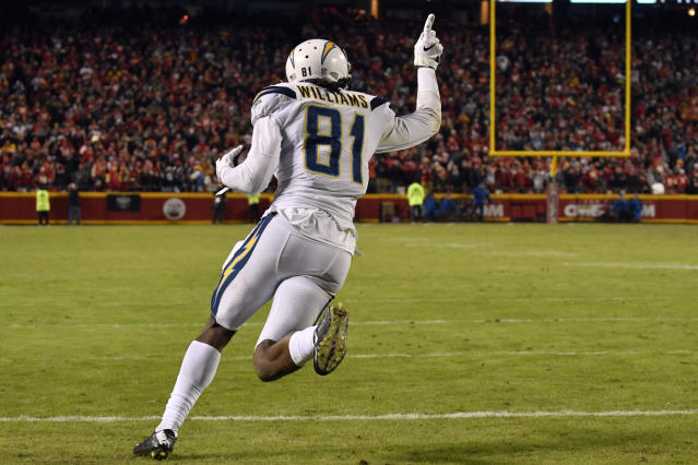 Chargers wide receiver Mike Williams celebrates after catching a two-point conversion to stun the Chiefs. (AP)