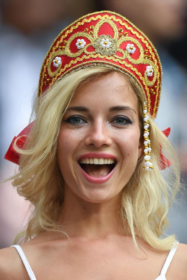 Nemchinova was wearing traditional Russian headgear as the hosts cruised to a 5-0 victory over Saudi Arabia