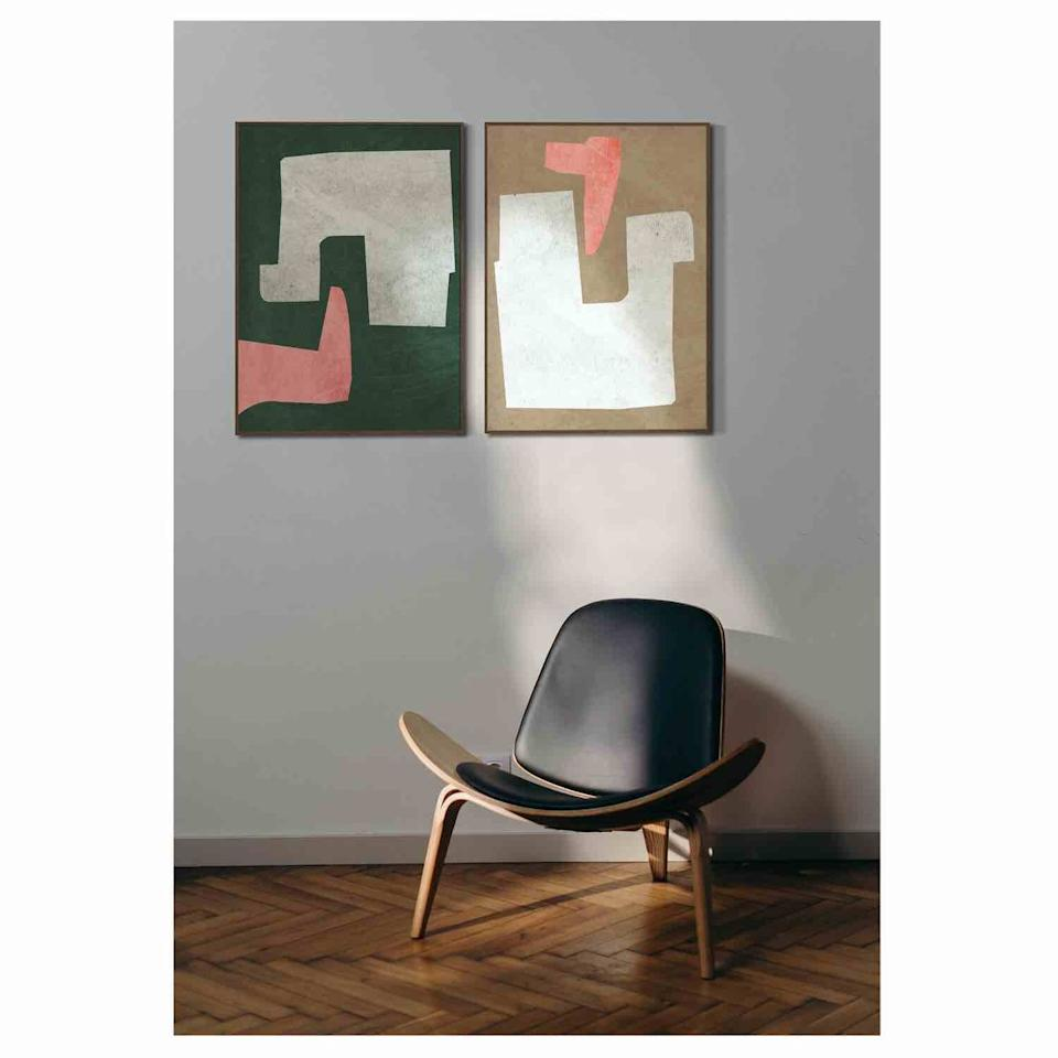 "<p>Artist  Jon Llewelyn, the man behind Formworks, abstract shaped paintings are inspired by his fascination with mid-century architecture, design, colour and form. His broad spectrum of colours means there would be something to work within any room scheme. From £150 <u><a href=""https://www.formworksstudio.co.uk/framed-prints/oblique-no1-jt94s-ay2t6-en245-pd84j-2b6nw-s6bdd-y39xl-mffpa-2jckd-cyt7m-3thyl-lrn5m-zssd2-8ch52-bxtj4-we2tx-765kz-lpnzp-jm7cx-snp59-de2wl-2ewcp-7b29h-py2ry-fg74k-dgrt2"" target=""_blank"">formworksstudio.co.uk</a></u><u></u></p>"