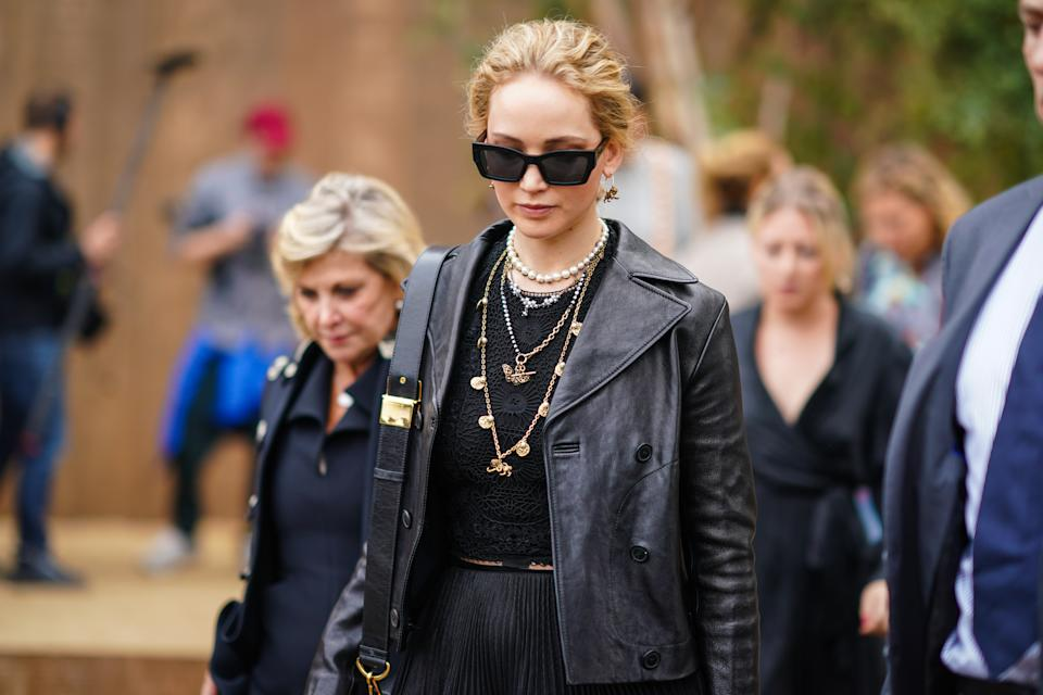 PARIS, FRANCE - SEPTEMBER 24: Jennifer Lawrence is seen, outside Dior, during Paris Fashion Week - Womenswear Spring Summer 2020, on September 24, 2019 in Paris, France. (Photo by Edward Berthelot/Getty Images)