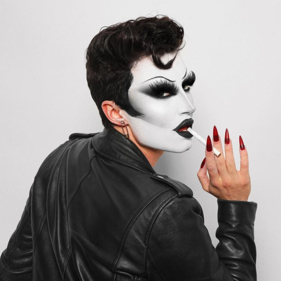 Gottmilk from Drag Race is dressed up as Danny Zucko from Grease.