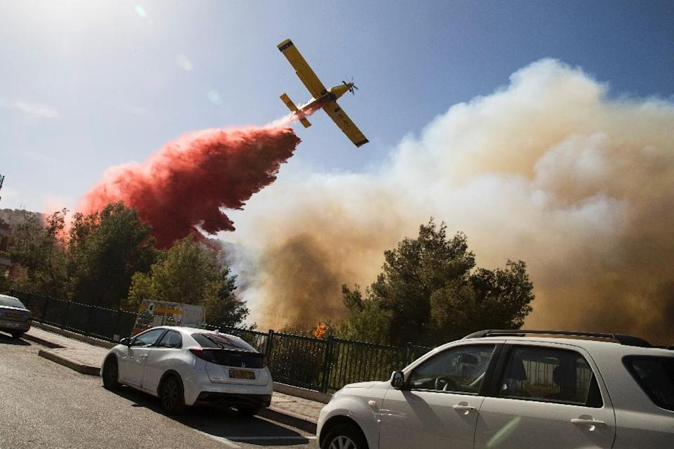 An Israeli firefighter plane helps extinguish a bushfire in the northern port city of Haifa, on November 24, 2016 (AFP Photo/Jack Guez)