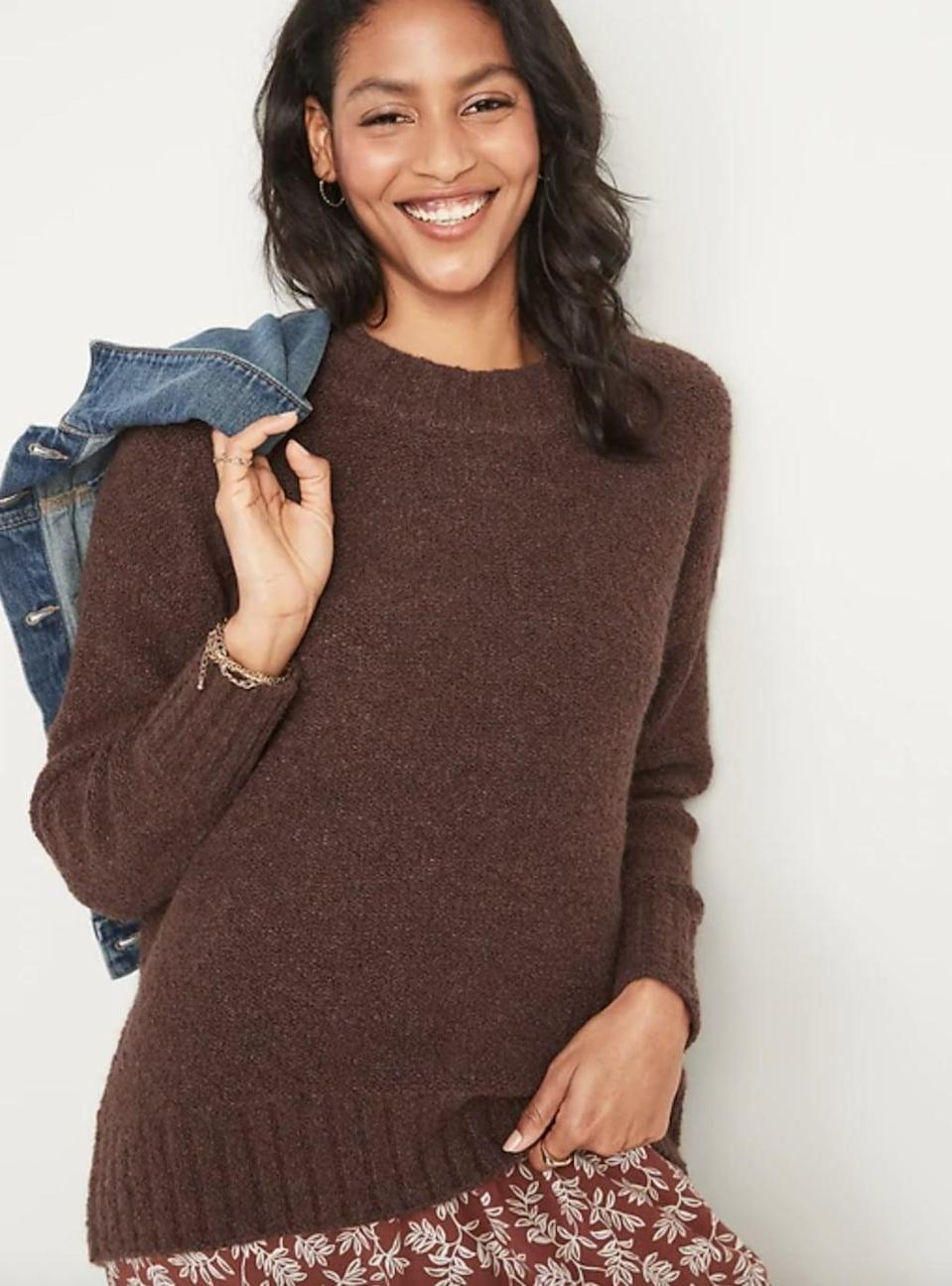 <p>We love the deep brown shade of this <span>Old Navy Cozy Oversized Bouclé Crew-Neck Sweater</span> ($40, originally $50).</p>