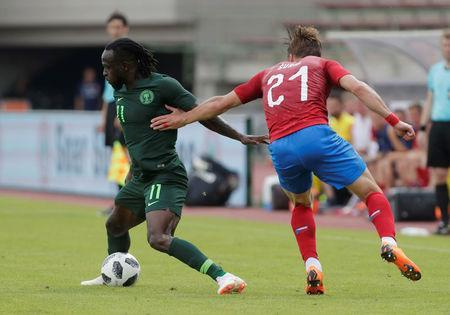 Soccer Football - International Friendly - Czech Republic vs Nigeria - Rudolf-Tonn-Stadion, Schwechat, Austria - June 6, 2018 Nigeria's Victor Moses in action with Czech Republic's Josef Sural REUTERS/Heinz-Peter Bader