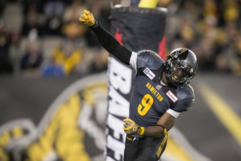 Brandon Stewart of the Hamilton Tiger-Cats celebrates a sack during their 19-17 win over the B.C Lions in their CFL football game at Tim Hortons Field in Hamilton, Ontario
