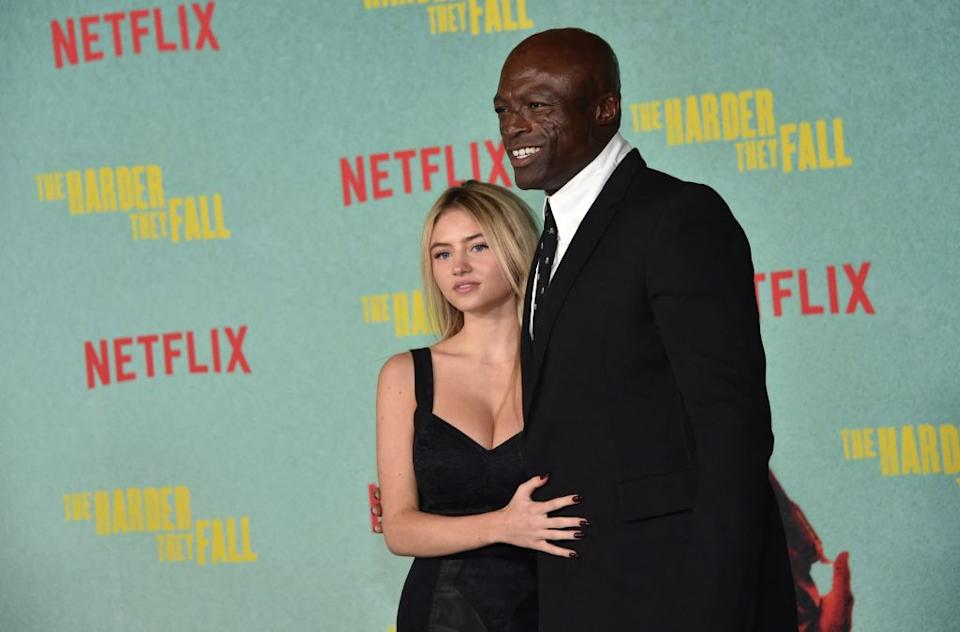 Leni Klum made a rare red carpet appearance with her father, Seal last night. (Getty Images)