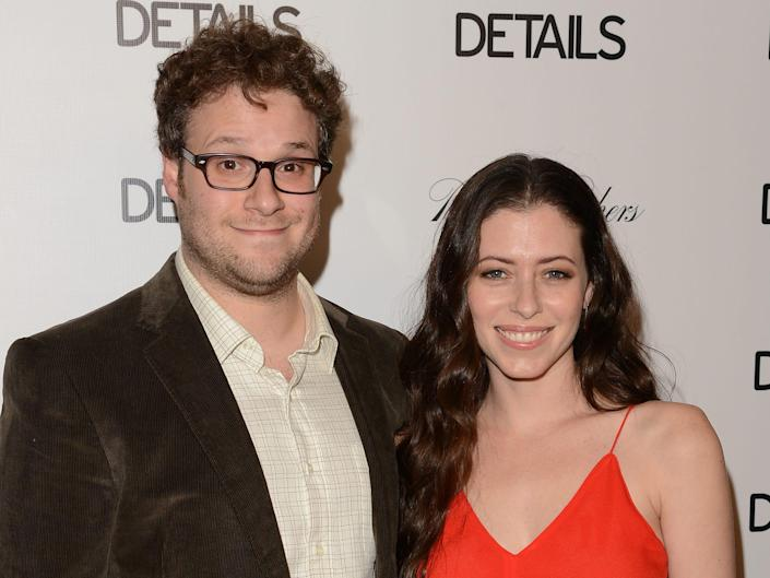Actors Seth Rogen and Lauren Miller attend the DETAILS Hollywood Mavericks Party held at Soho House on November 29, 2012 in West Hollywood, California.