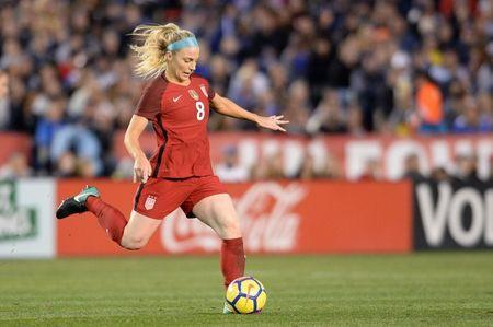Jan 21, 2018; San Diego, CA, USA; United States midfielder Julie Ertz (8) passes the ball during the first half against Denmark at SDCCU Stadium. Mandatory Credit: Orlando Ramirez-USA TODAY Sports