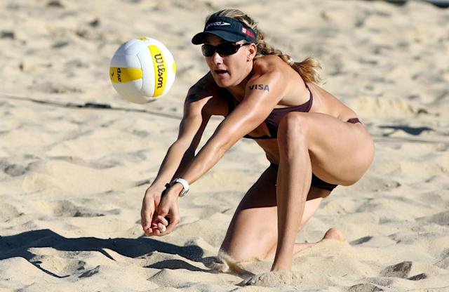 Kerri Walsh passes the ball to her partner during her quarterfinal match in the AVP Pringles Smart Flavors Cincinnati Open presented by Herbalife at the Linder Family Tennis Center on September 1, 2007 in Mason, Ohio.