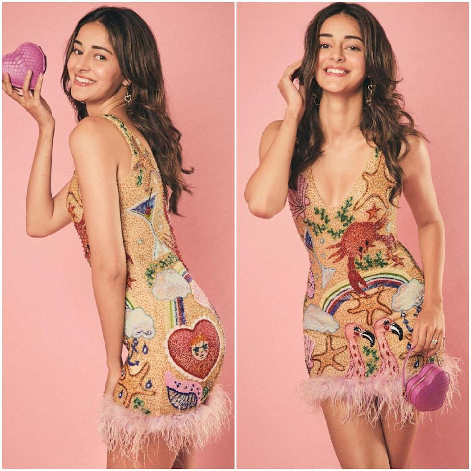 This new bee is taking her fashion game a notch up with every appearance she is making. Around a year since Ananya Panday has debuted and flirted with the camera, and has not disappointing the fashion police once. We love this look on her this month. The playful, youthful look features a mini dress with all kinds of aquatic cartoon and is complete with a cute heart-shaped pouch in shocking pink.