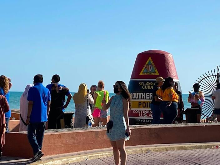 The Southernmost Point in Key West attracts visitors seeking photos on March 28, 2021.