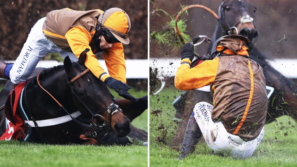 Sam Waley-Cohen, pictured here falling at Sandown Races.