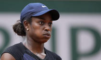 United States's Sloane Stephens reacts as she plays against Czech Republic's Karolina Pliskova during their second round match on day 5, of the French Open tennis tournament at Roland Garros in Paris, France, Thursday, June 3, 2021. (AP Photo/Michel Euler)