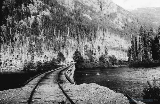 This photo shows a railroad by Elk River Timber Camp 9 in Strathcona Provincial Park. (Will J. Reid Family Collection/Submitted - image credit)
