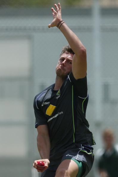BRISBANE, AUSTRALIA - NOVEMBER 06:  James Pattinson bowls during an Australian nets session at The Gabba on November 6, 2012 in Brisbane, Australia.  (Photo by Chris Hyde/Getty Images)