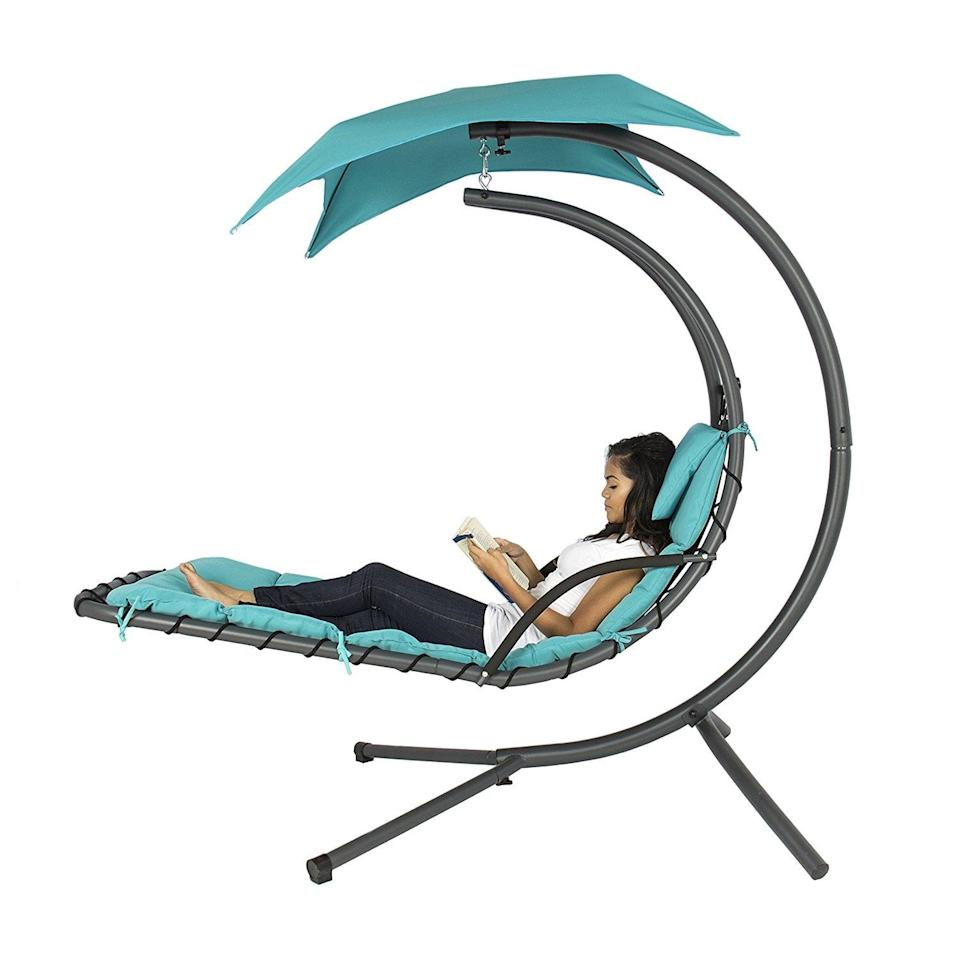<p>This <span>Best Choice Products Hanging Chaise Lounger Chair</span> ($220) is a loveseat with a built-in umbrella, and we think we're in love. </p>