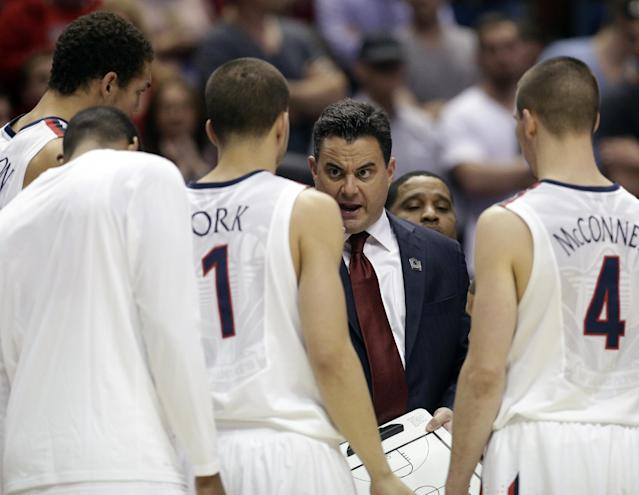 Arizona head coach Sean Miller during the first half in a regional final NCAA college basketball tournament game against Wisconsin, Saturday, March 29, 2014, in Anaheim, Calif. (AP Photo/Jae C. Hong)